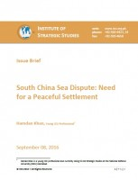 Issue Brief on South China Sea Dispute: Need for a Peaceful Settlement