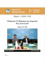 "Report – Public Talk on ""Pakistan US Relations in Jeopardy: Way Forward"""