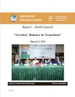"Report – Book Launch on ""Gwadar: Balance in Transition"""