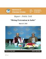 "Report – Public Talk on ""Rising Extremism in India"""