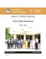 Report - In-House Meeting with Thai Media Delegation