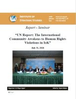 "Report - Seminar on ""UN Report: The International Community Awakens to Human Rights Violations in IoK"""