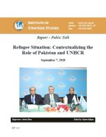 Report – Public Talk on Refugee Situation: Contextualizing the Role of Pakistan and UNHCR