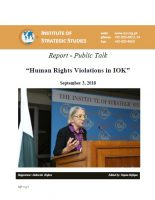 "Report - Public Talk on ""Human Rights Violations in IOK"""
