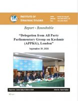 "Report - Roundtable ""Delegation from All Party Parliamentary Group on Kashmir (APPKG), London"""