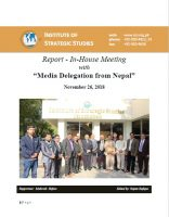 Report - In-House Meeting with Media Delegation from Nepal