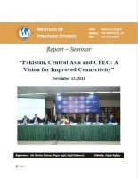 Report – Seminar on Pakistan, Central Asia and CPEC: A Vision for Improved Connectivity