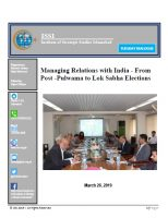 Tuesday Dialogue on Managing Relations with India - From Post -Pulwama to Lok Sabha Elections