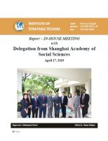 Report – In-House Meeting with Delegation from Shanghai Academy of Social Sciences