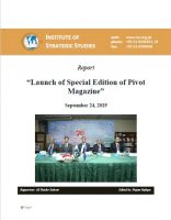 """Report  - """"Launch of Special Edition of Pivot Magazine"""""""